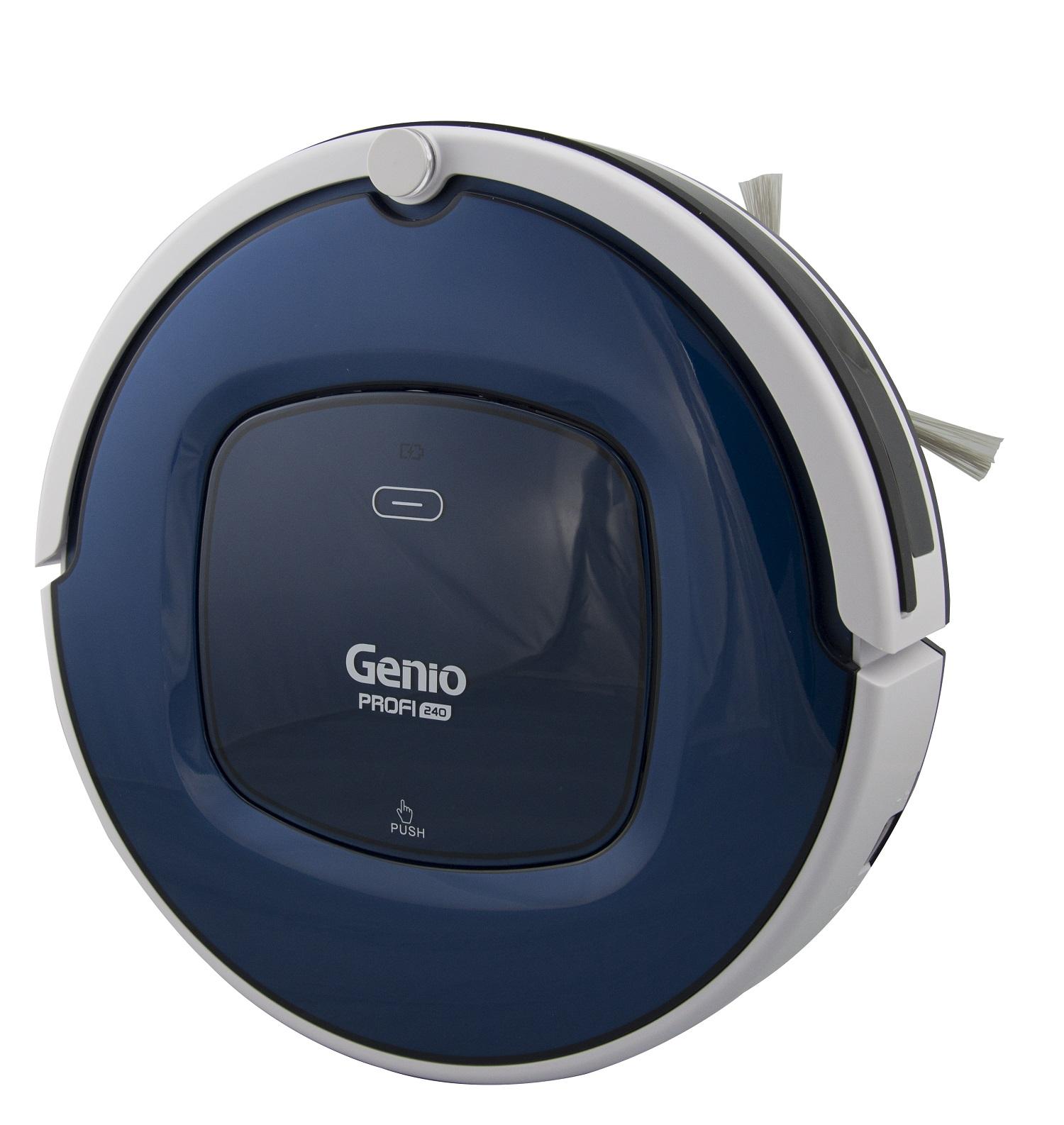 Робот пылесос Genio Profi 240 Blue (синий)Genio<br>Робот-пылесос Genio Profi 240 Blue (Синий) обладает прекрасными техническими характеристиками. Мощный Ni-Mh аккумулятор, бесщеточный мотор, бампер мягкого касания, блок для протирки пола, виртуальная стена (ограничитель движения), пульт ДУ, датчики препят...<br>