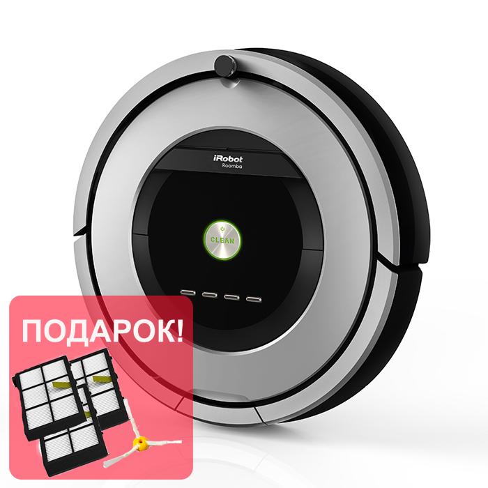 Робот пылесос iRobot Roomba 886iRobot<br>Пылесос робот iRobot Roomba 886 — топовая модель в линейке iRobot 800-серии с системой уборки AeroForce. Уборка еще никогда не была столь простой и качественной. Вместо основных щеток у данной модели используются резиновые экстракторы, которые значительно...<br>