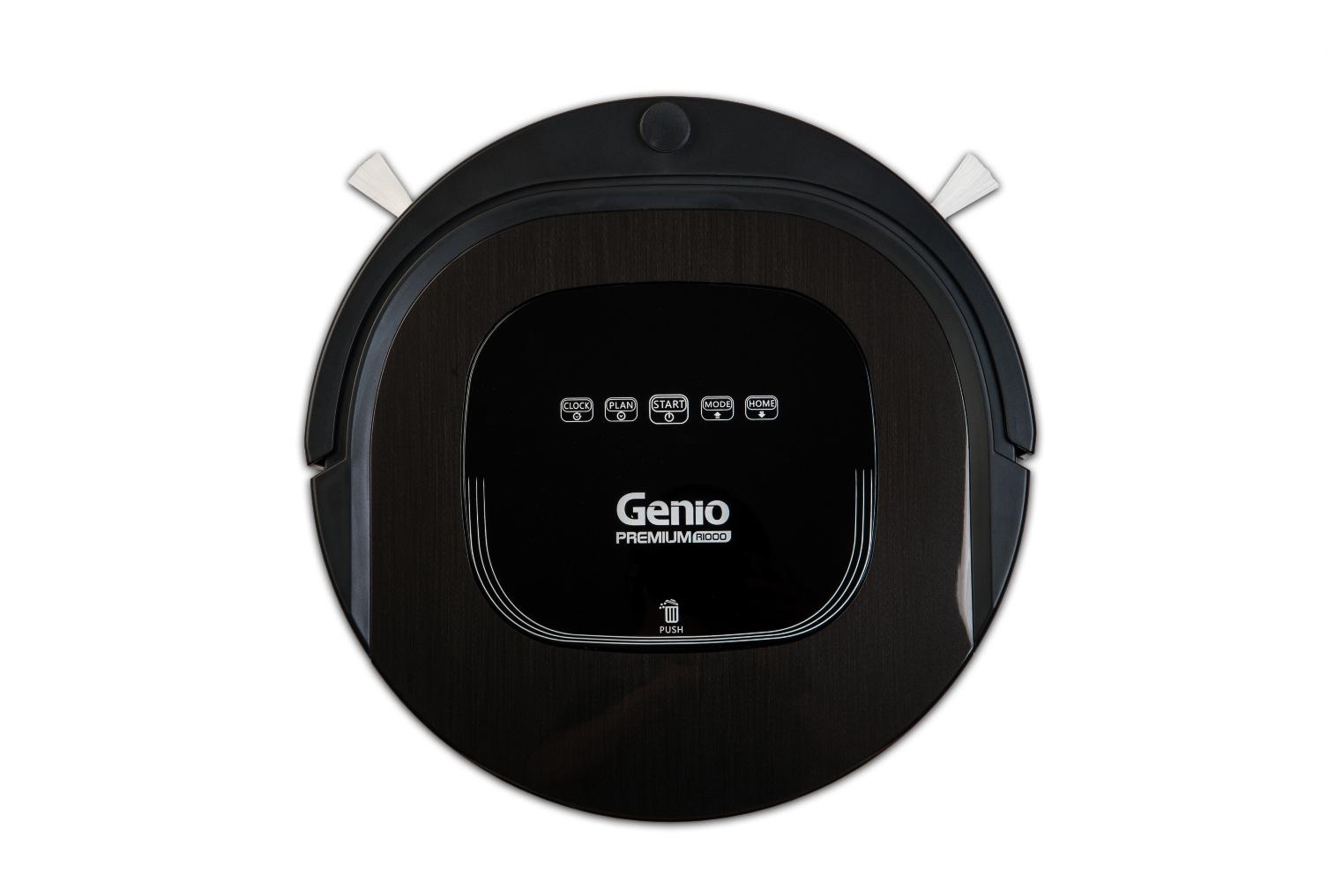 Робот пылесос Genio Premium R 1000Genio<br>Робот-пылесос Genio Premium R1000 (Черный) одна из топовых моделей фирмы Genio. Сменные блоки для уборки (с основной щеткой и без), мощный Li-ion аккумулятор, бесщеточный мотор, бампер мягкого касания, увеличенный блок влажной уборки (с резервуаром для во...<br>